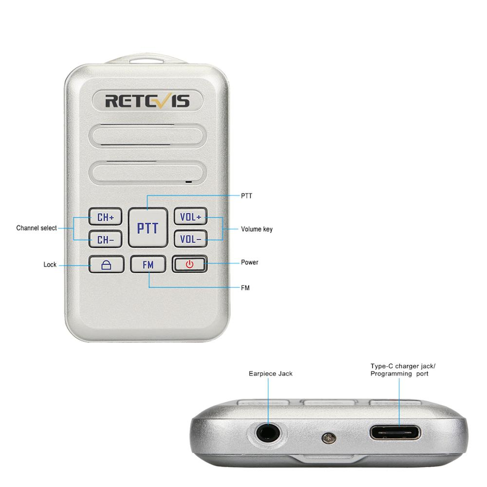 Mini Walkie Talkie 2Way Radio Retevis RT20 16CH 2W//0.5W FM Radio UHF 400-470MHz
