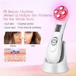 Image 5 - Ad ultrasuoni Viso Macchina di Pulizia Scrubber Pelle Pore Cleaner + LED Photon Ringiovanimento RF Dispositivo di Bellezza Sbiancamento Rassodante Sollevamento