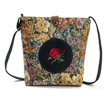 Canvas-Bag Messenger-Bag Rose Floral-Girl Hot-Sale Cheap Fashion Women Cute Lady Daily-Use