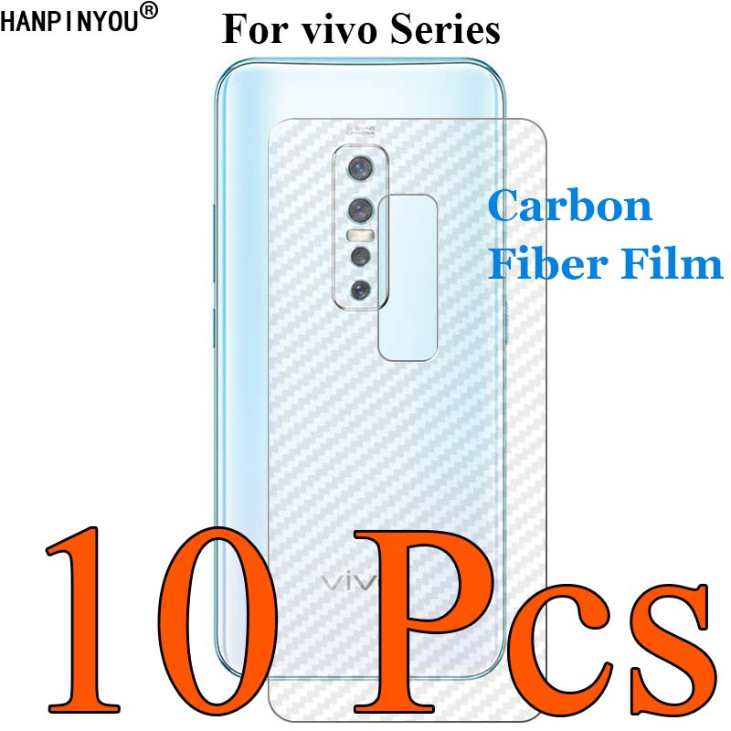 10 Pcs For <font><b>vivo</b></font> V17 V15 X27 <font><b>Z1</b></font> S1 <font><b>Pro</b></font> iQOO NEO S5 Y17 Y15 Y12 U20 U10 3D Carbon Fiber Back Film Skin Screen Protector Sticker image