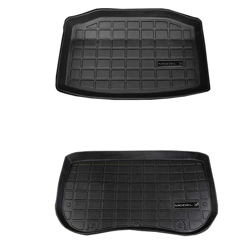 2 Pcs Car Front Rear Trunk Storage Mat Cargo Tray Trunk Waterproof Protective Pads Mat Compatible For Tesla Model 3