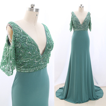 MACloth Turquoise Sheath V Neck Floor-Length Long Crystal Je