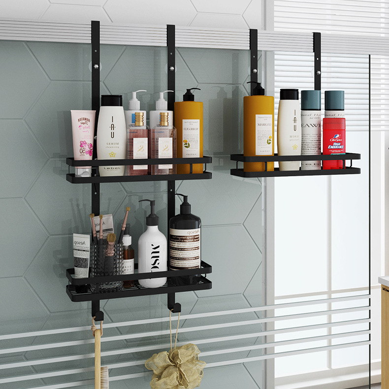 Stainless Steel Bathroom Shelf Wall Mounted Matte Black 2-layer Shower Rack Door Hanging Basket Bathroom Storage Organizer Shelf