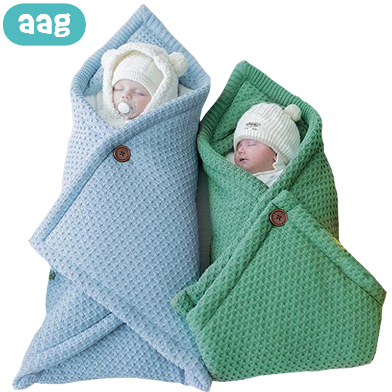 AAG Cotton Baby Envelope For Discharge Knitted Stroller Envelope For Newborns Diaper Cocoon Baby Sleeping Bag Sack Swaddle Wrap