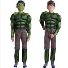 Ano novo carnaval verde o incrível hulk traje endgame músculo traje de halloween para crianças meninos crianças cosplay