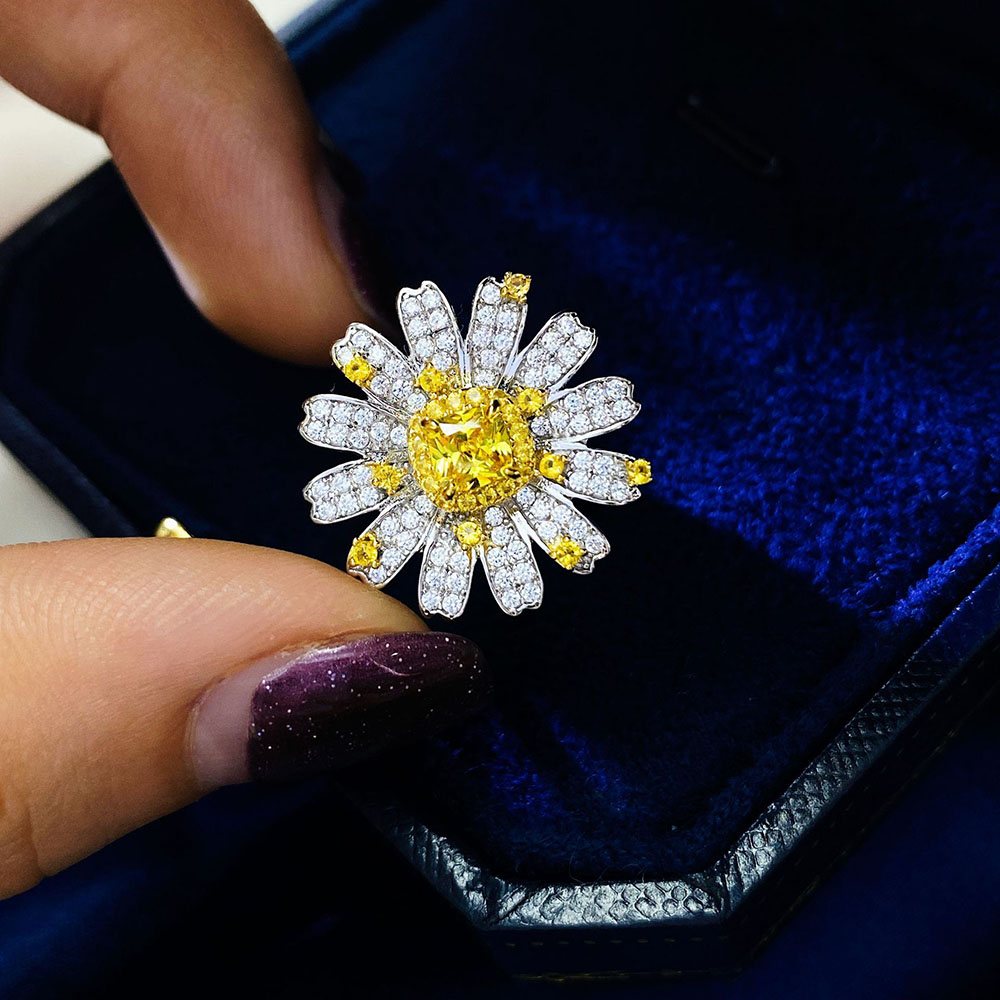 KNRIQUEN New 925 Sterling Silver Sunlight Daisy Topaz Gemstone Rings for Women Cocktail Wedding Diamond Bands Fine Jewelry Gift