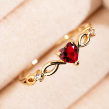 Tiny Heart Love Wedding Rings For Women Simple Cute Golden Elegant Cubic Zircon Bridal