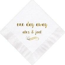 Napkins Foil-Paper Cocktail-Beverage Custom-Printed Guest Gold Towel Engagement Wedding