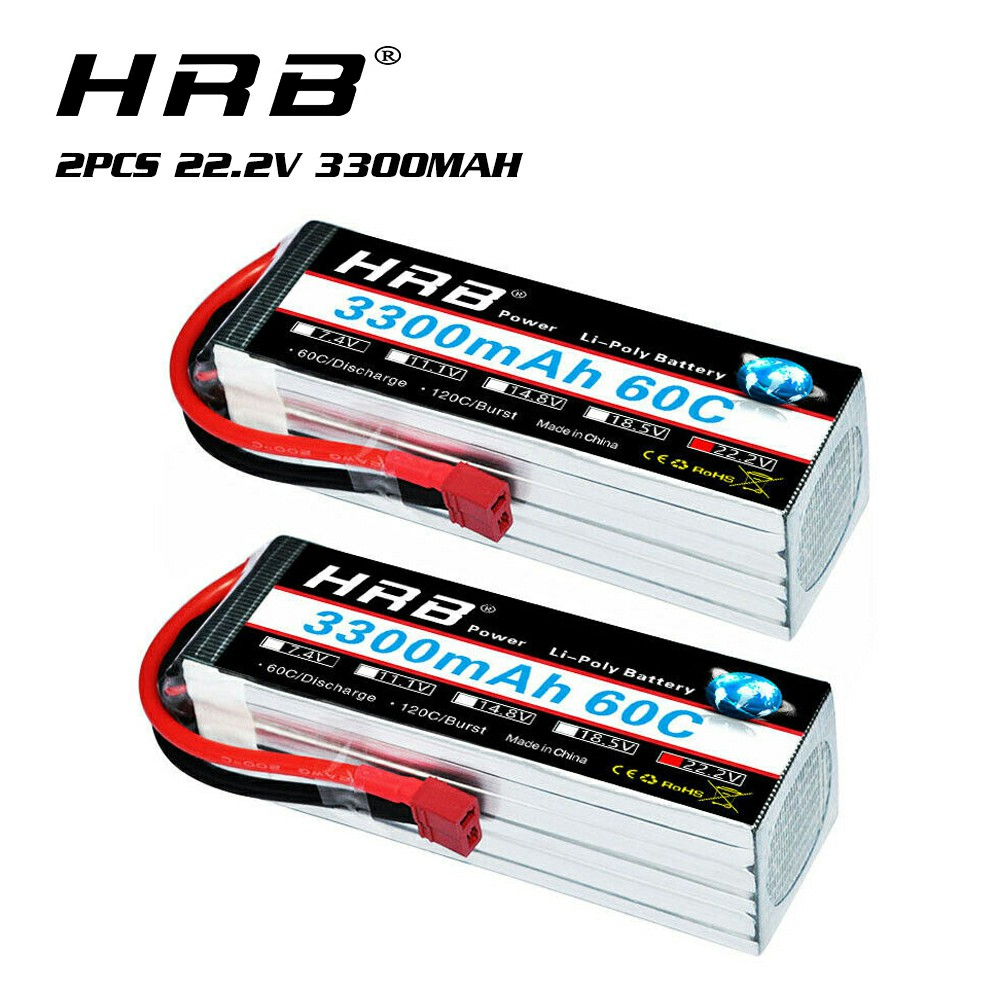 2pcs HRB 22.2V 3300mAh 6S Lipo Battery 60C 120C For RC Airplane Quadcopter Goblin 500 Goblin 630 TREX 500 TREX 600 Helicopter