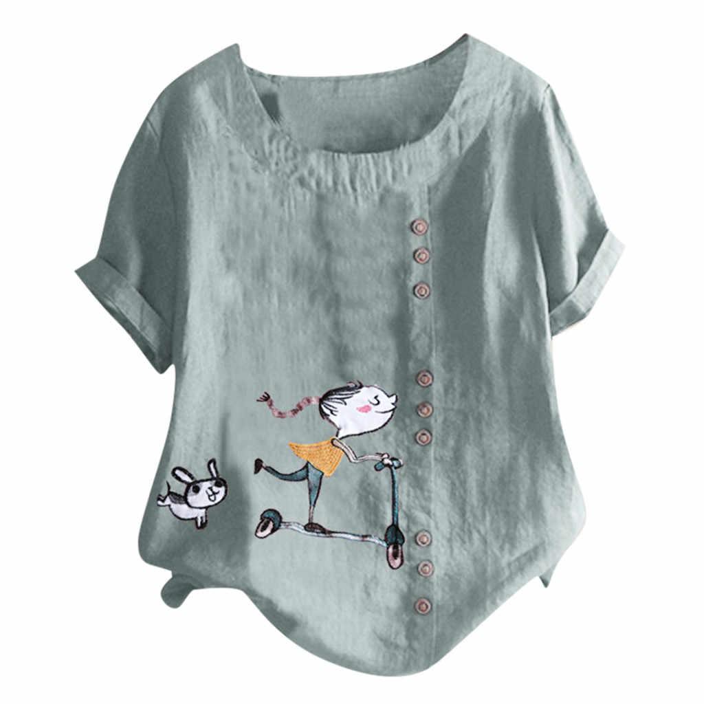 Feitong женская блузка Повседневная Плюс Размер o-образным вырезом с коротким рукавом для девочек и собак Печать свободная кнопка туника рубашка блузка Топы