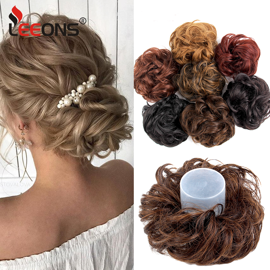 Leeons  Women Scrunchie Hair Bun Extension Elastic Hairpiece Wig Hair Bands Fashion Ladies Hair Accessories Black Brown