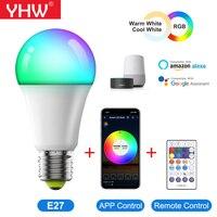 YHW WiFi intelligente lampadina E27 LED lampada AC100-240V RGB + freddo + bianco caldo colorato cambiare lavoro con Alexa Google Home Time Mode