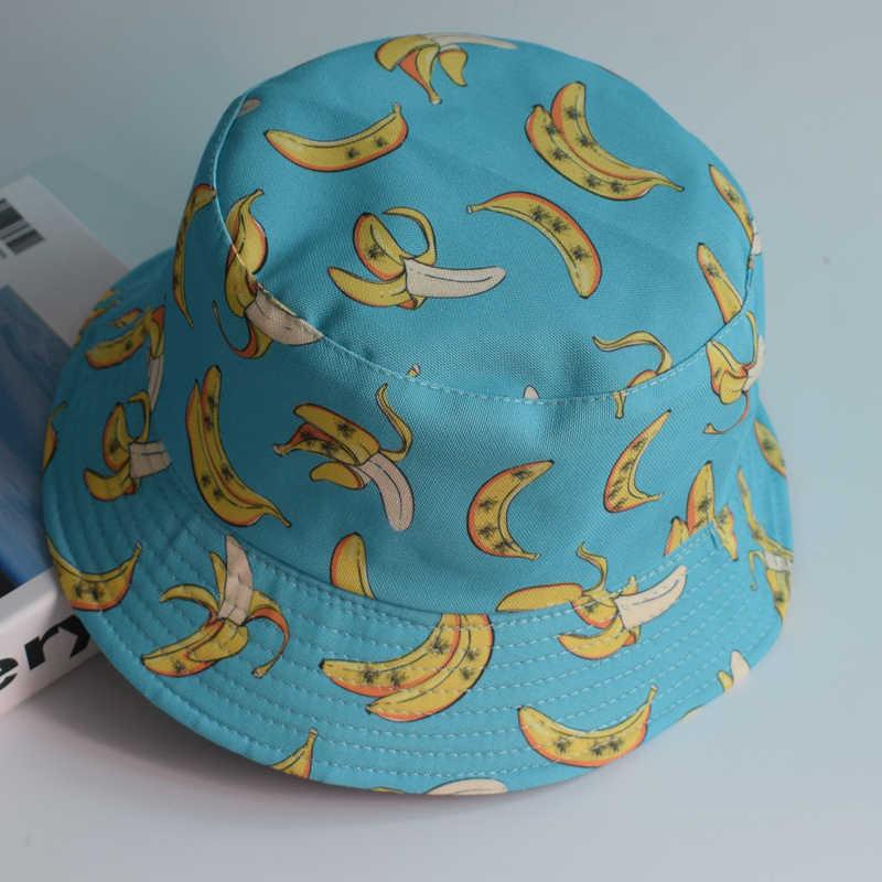الصيف لا تتلاشى الفاكهة قبعة بحافة النساء الرجال صبي حزين طباعة قبعة الفتيات الوجهين بوب الشمس فام الأزهار بنما صياد قبعة