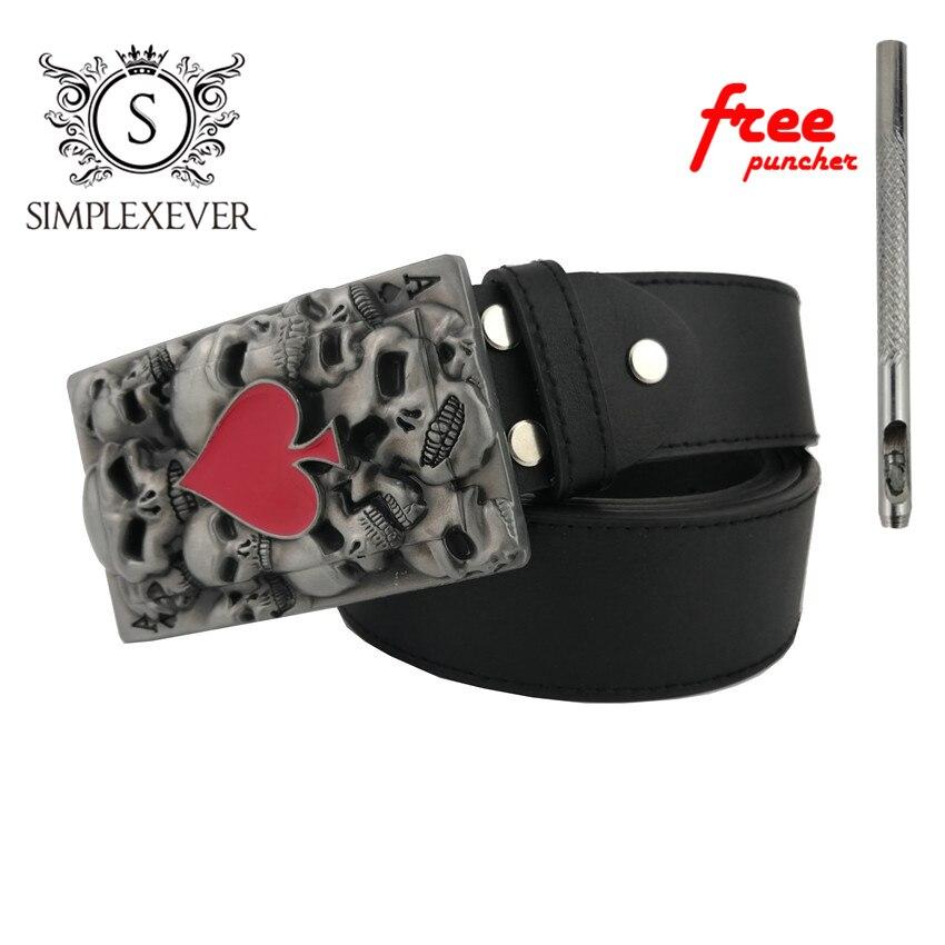 Belt DIY Accessories Skull Belt Buckle Western Cowboy Red Heart Men's Belt Buckle Punk Rock Style With Belt