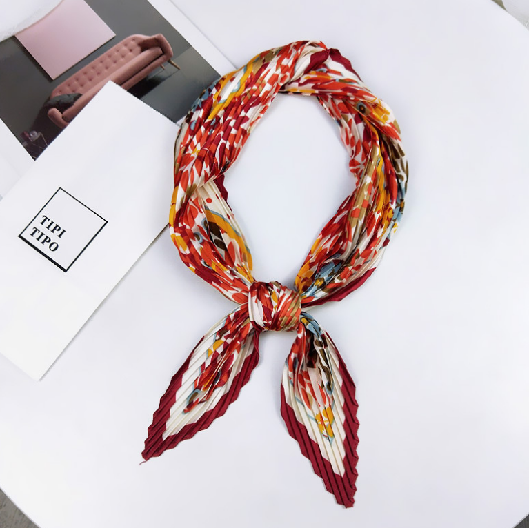 Pleated GPB  Square Scarf In Spring And Autumn, Four Seasons Literature And Art, Retro Small Silk Scarf, New Style, Versatile D