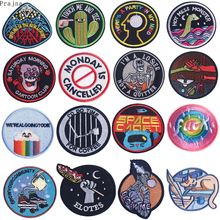 Prajna UFO Alien Space Patch Rock Iron On Embroidered Patches For Clothes Stripe Sticker Letter Camping