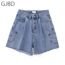 Women Jeans Shorts Y2k Streetwear Knee-Length Baggy Trouser Vintage High-Waist Straight