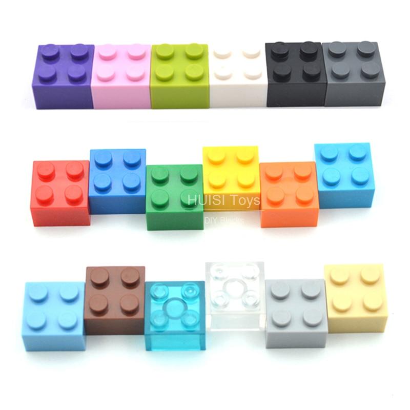 100 pcs/lot 2X2 * bricolage éclairer jouet en plastique bloc de construction briques pour enfants Compatible avec Legoe assemble particules 12 couleurs (lot de 100)