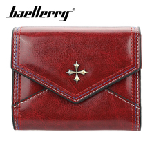 Baellerry Wallet Metal Cross Solid Women Short PU Leather Hasp Porta Handbag Card Photo Holder Coin Pocket Fashion