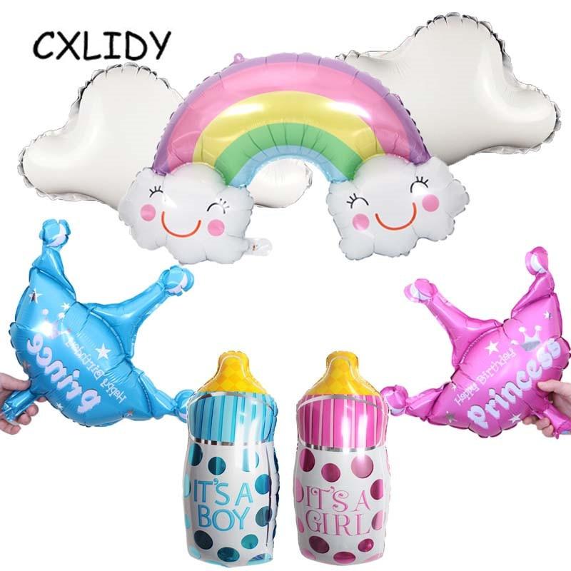 Children's Birthday Balloons Rainbow Clouds Happy Birthday Princess Pink Bottle Balloons Baby Shower Party Supplies (1)