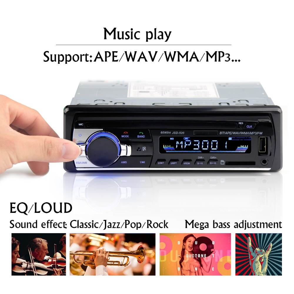 Mp3-Player Upgraded Bluetooth Digital Car-Radio Audio Stereo 1 12v 1-Din Aux-Adapter