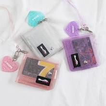 Bling Transparent ID Karte Halter Brieftaschen PVC Folding Lanyard Kurze Brieftasche Geldbörse Mädchen Gelee Tasche Mini Geld Brieftasche Karte Halter