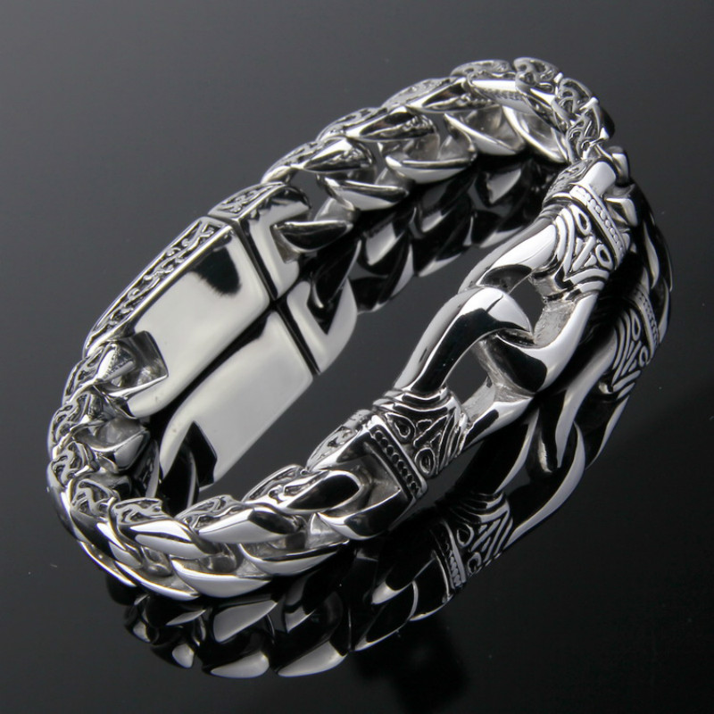 11MM Wide Vintage Tribal Pattern Men's Punk Titanium Steel Wide <font><b>Bracelet</b></font> Polished Pattern Jewelry Bangles <font><b>Hand</b></font> Thick <font><b>Chain</b></font> image
