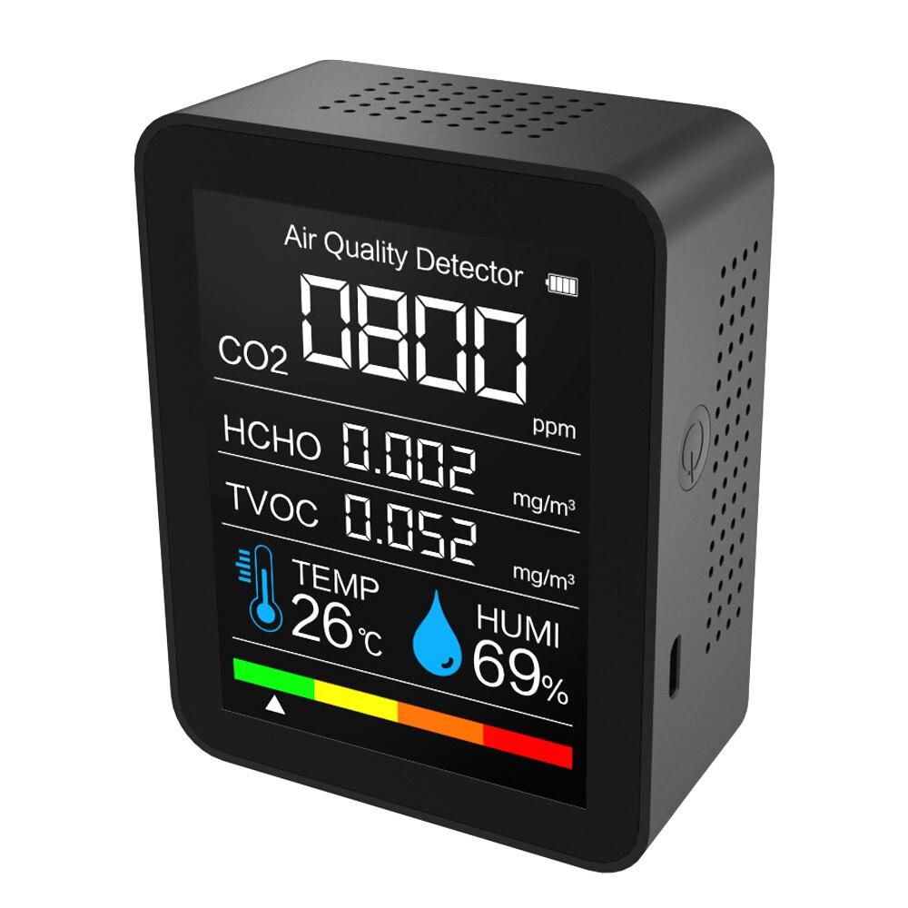 Detector de co2 portátil detector de qualidade do ar inteligente tvoc hcho temperatura e umidade tester monitor dióxido carbono