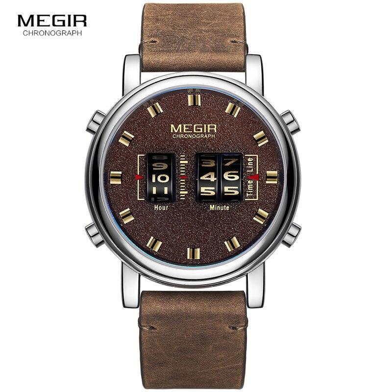 Digital de Luxo Exército dos Homens Pulseira de Couro Relógio de Pulso de Quartzo Megir Relógio Esporte Novo Masculino Marrom Relógios Homem 2137 2020