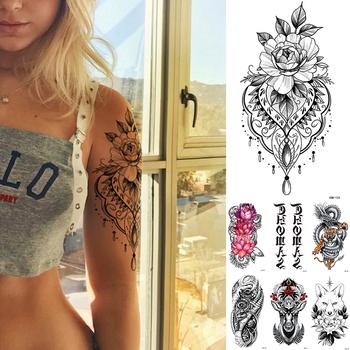 Wodoodporna tymczasowa naklejka tatuaż koronki róża kwiaty Lotus Flash tatuaże wilk Fox tatuaże do ciała ramię fałszywy rękaw tatuaż kobiet tanie i dobre opinie MANZILIN 21X11 5cm XQB124 Zmywalny tatuaż