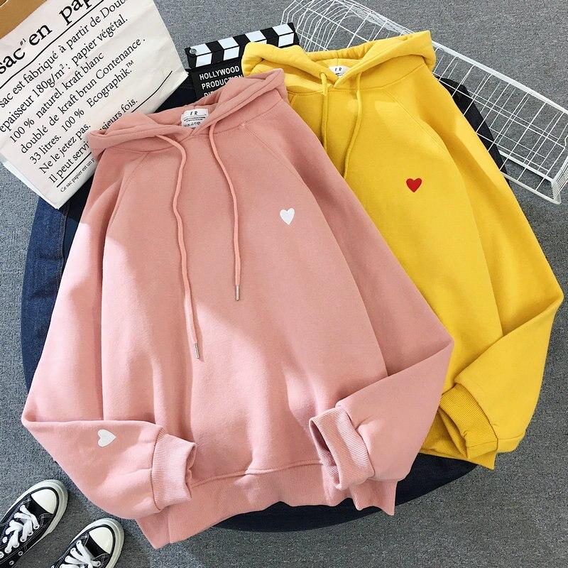 Zuolunouba Winter Women Hoody Sweatshirt Embroidery Harajuku Love Heart Pullover Long Sleeve Loose Fleece Lady Yellow Pink Tops