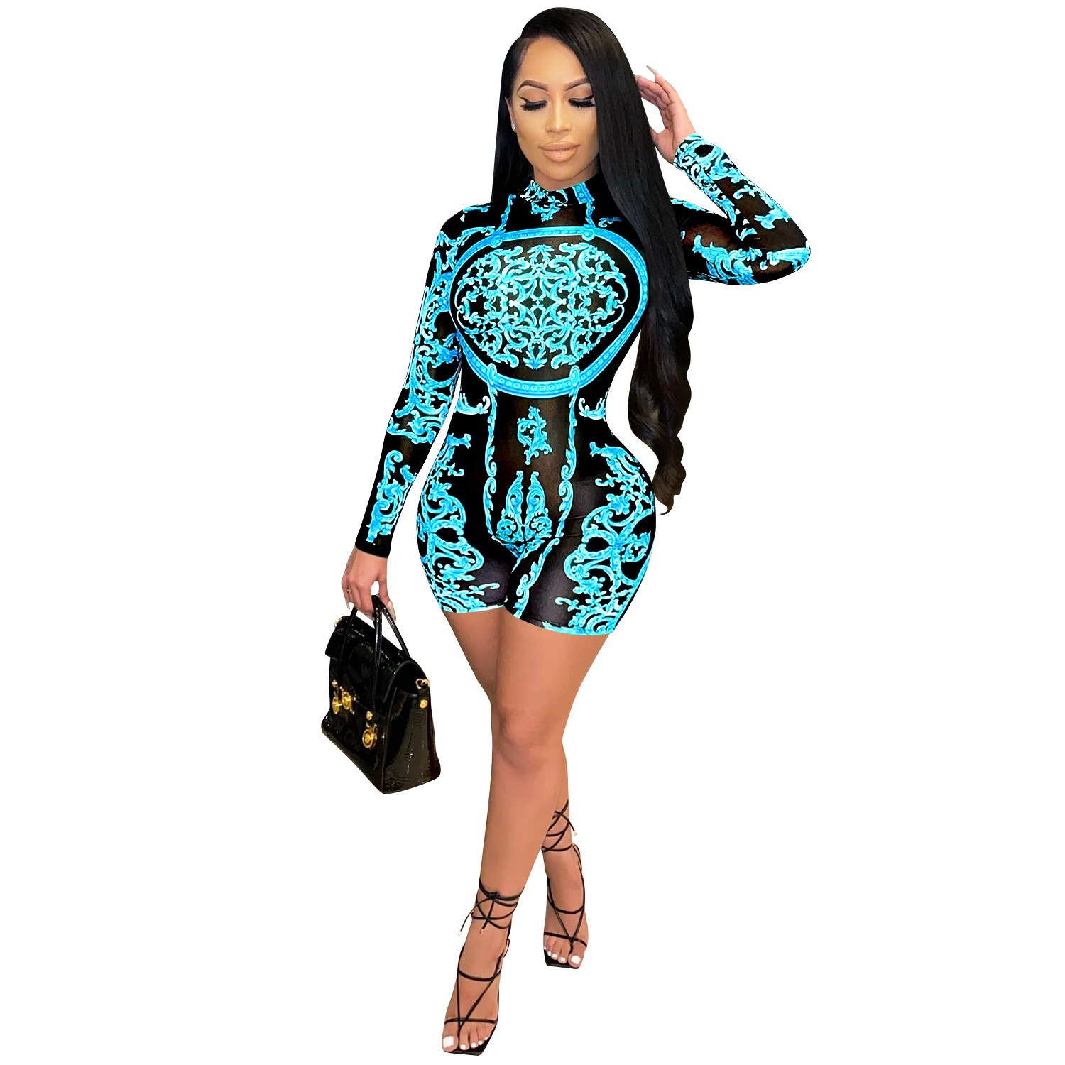 Zoctuo Playsuit Women Turtleneck Sexy Rompers Jumpsuit Autumn Long Sleeve Print Playsuits Party Club Skinny Shorts Jumpsuits