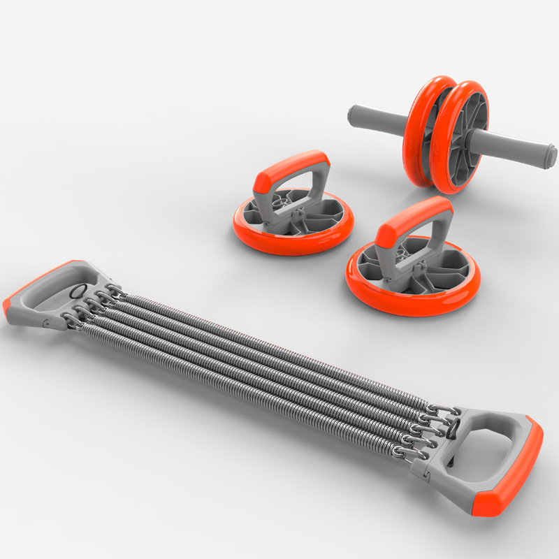 Exercise Set No Noise Abdominal Wheel Ab Roller & Elastic Bands & Push Up Bar For Exercise Fitness Equipment Hip Trainer