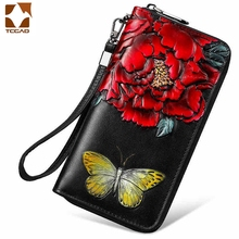 Genuine leather wallet for women Flower Women's Long