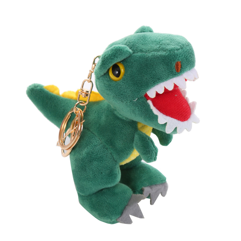 Fashion Dinosaur Keychain Plush Stuffed Animal Small Pendant Dolls Car Women Bag Key Ring Pendant #B