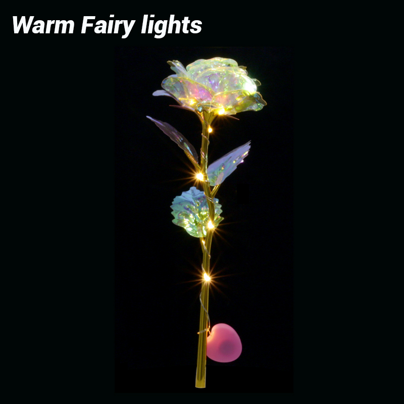 Romantic Colorful LED Fairy Rose Artificial Galaxy Rose Flowers for Girl Friend Valentine's Day Gift Wedding Party Home Decor