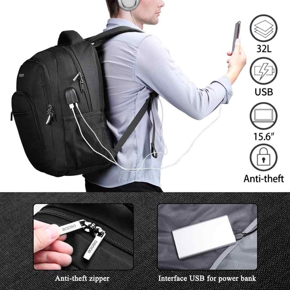 OSOCE מחשב נייד תרמיל, נסיעות מחשב נייד מחשב חזרה לארוז תיק לגברים נשים עם USB טעינת נמל, מים עמיד עבור 15.6 מחשב נייד