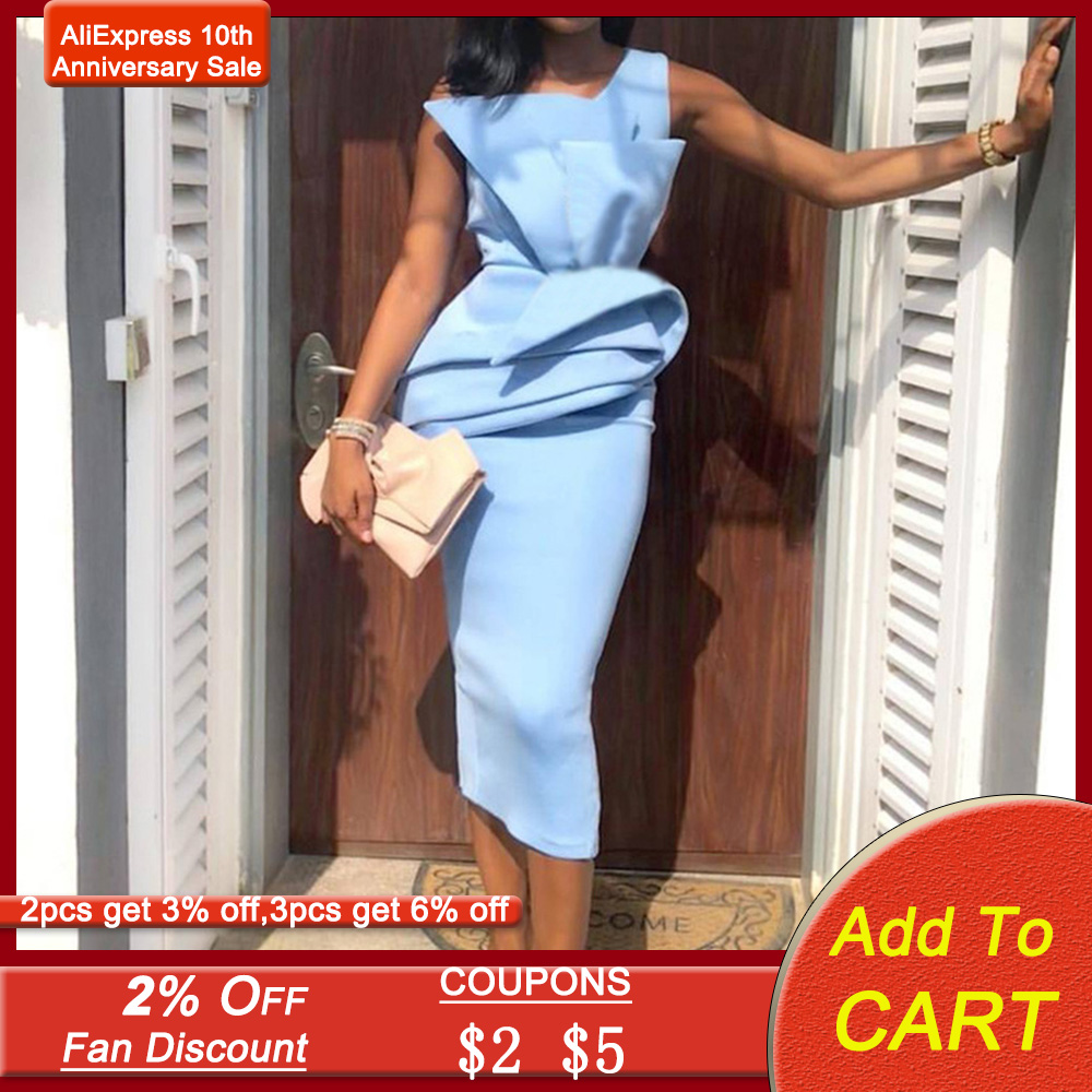 Women Sleeveless Ruffles Cocktail Party Dress Blue Elegant Bodycon Midi Dresses Summer 2020 African Lady Pleated Pencil OL Robe