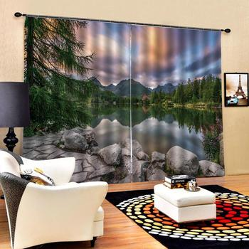 Decoration curtains Customized size Luxury Blackout 3D Window Curtains For Living Room green scenery curtains