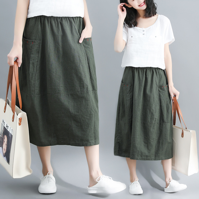 Summer Literature And Art Large Size Loose-Fit Slimming Solid Color Cotton Linen Versatile Skirt