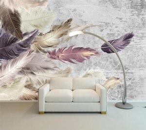 beibehang Custom wallpaper 3D realistic mural cement texture feather TV background wall living room bedroom decorative wallpaper