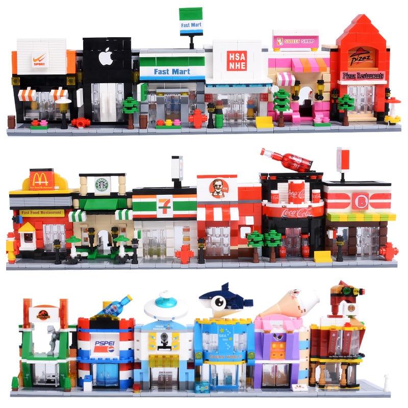 City Street Legoed Single Mini Series Candy Pizza Ice Cream Shop Bookstore Building Blocks Kits For Children Educational Toys