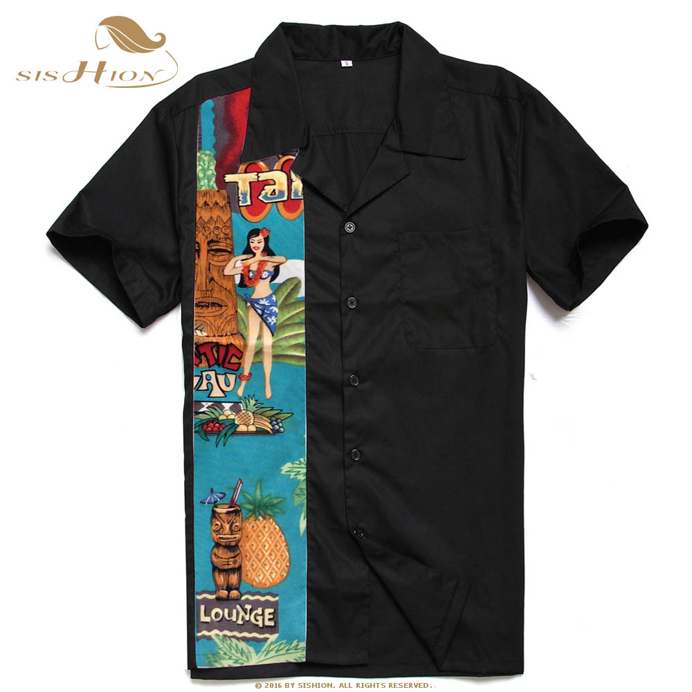 Image 3 - SISHION L 2XL Plus Size Men Shirt ST110 Short Sleeve Black Red Rockabilly Cotton Casual Bowling Shirts for Men camisa masculina-in Casual Shirts from Men's Clothing