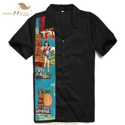 SISHION L-2XL Plus Size Men Shirt ST110 Short Sleeve Black Red Rockabilly Cotton Casual Bowling Shirts for Men camisa masculina 3