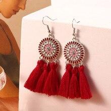 HOCOLE Handmade Tassel Drop Earrings For Women Bohemian Geometric Fringed Fabric Long Dangle Earring Female Boho Jeweley Gifts