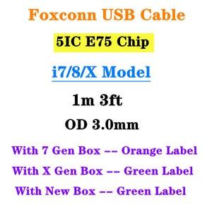 Image 1 - 10 قطعة/الوحدة 5IC فوكسكون الأصلي E75 رقاقة USB شحن كابل ل 5S SE 6s 7 8 زائد XS ماكس 1m 3ft OD 3.0 مللي متر مزامنة بيانات كابل مع مربع