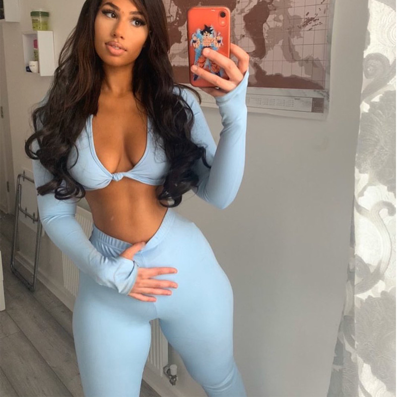Blue Tie Front Crop Top And High Waist Pant Set