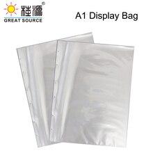 A1 Presentation Bag A1 Binder File Bag Poly-Punched Pocket 6 Holes For 4K Ring Binder Folder W610*H845mm(24.02