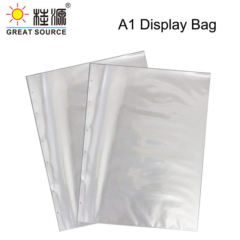 A1 Presentation Bag A1 Binder File Bag Poly-Punched Pocket 6 Holes For A1 Ring Binder Folder W610*H845mm(24.02