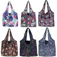 Складная сумка для покупок, Женская дорожная сумка через плечо, сумки для продуктов, эко многоразовая Цветочная сумка для хранения фруктов и овощей